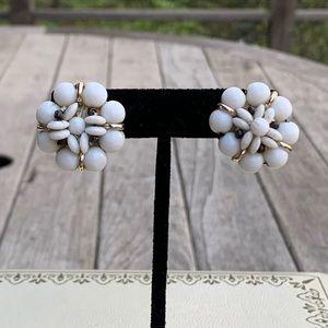 Vintage White Beaded Flower Clip-On Earrings